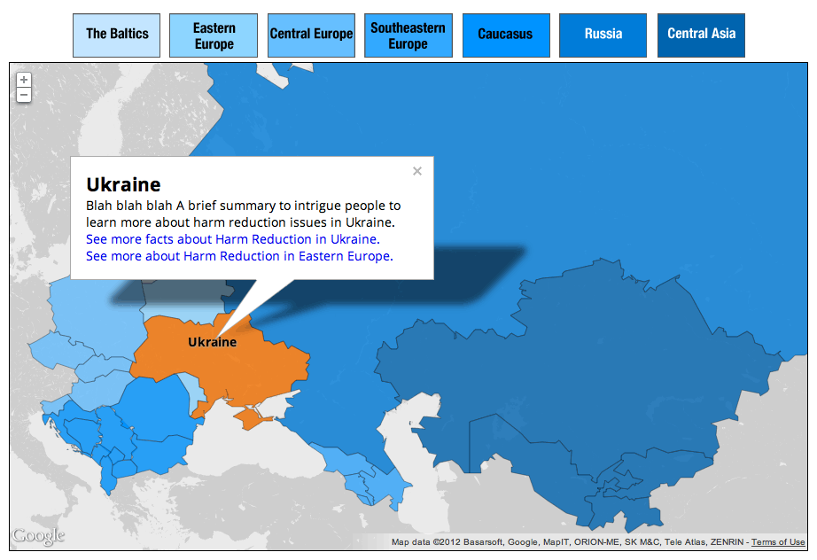 A user clicks on Ukraine to access a Google Maps infoWindow with information about harm reduction in