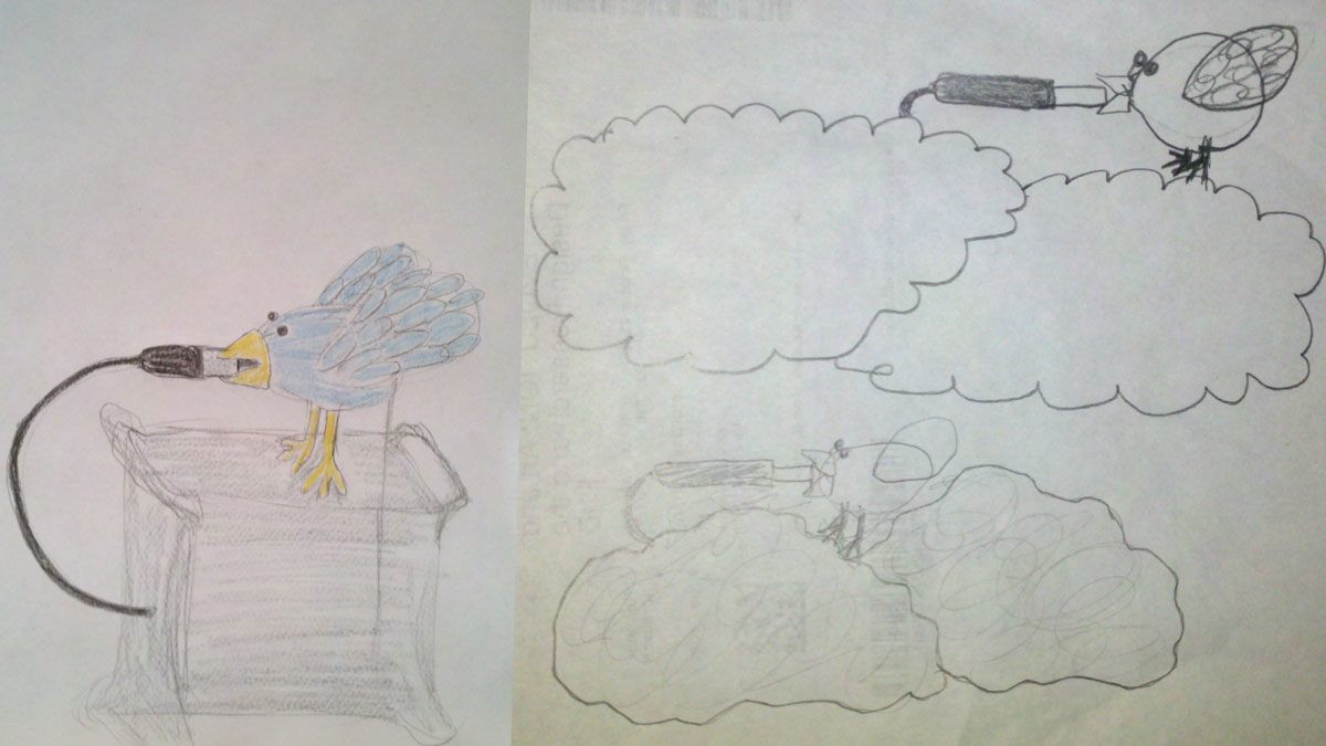 Original sketches of the Exploding Twit Bird - Kenneth Roraback