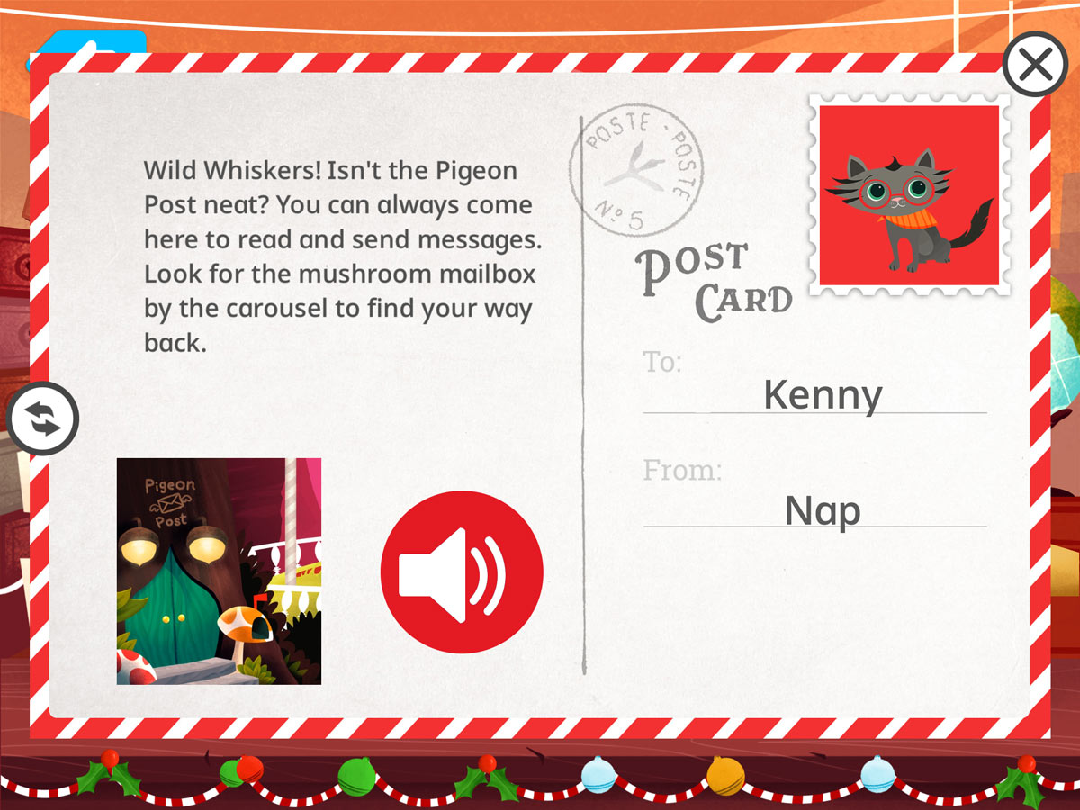 Learn with Homer's Pigeon Post - Postcard back from Nap the kitten