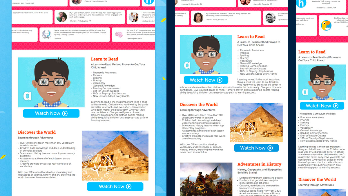 More of the Learn with Homer Homepage