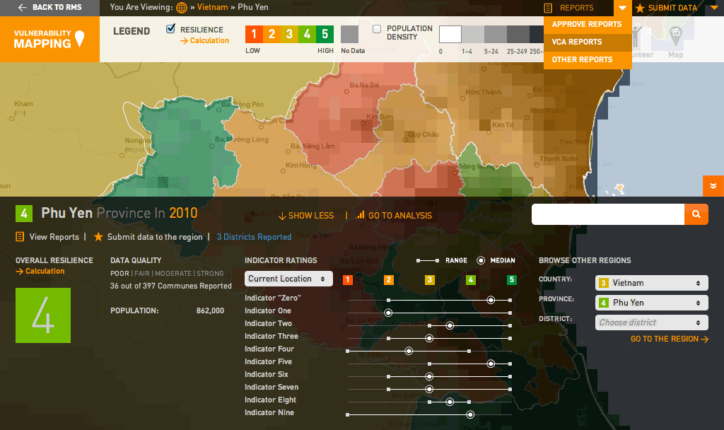 Global Vulnerability Mapping: Map View with Drawer Open