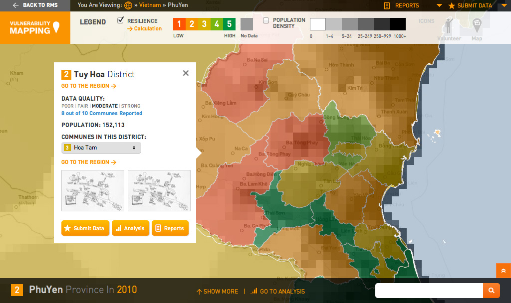 Global Vulnerability Mapping: Map View with Drawer Closed